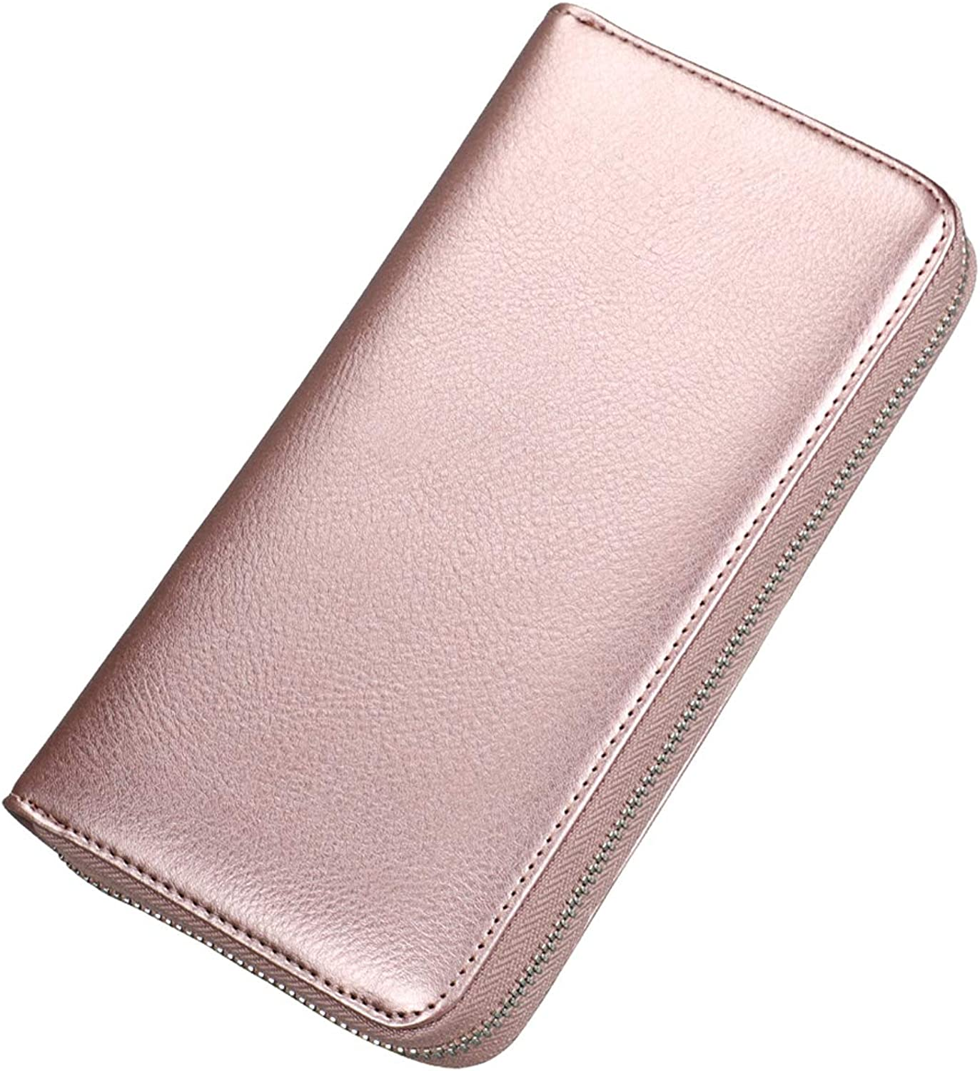 Credit Card Wallet for Women Zip Leather Portable Card Bag RFID Blocking