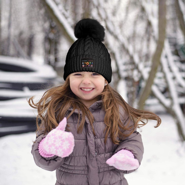 Girls Winter Pompom Beanie Hat Double Layer Fleece Lined Among Us Winter Cap