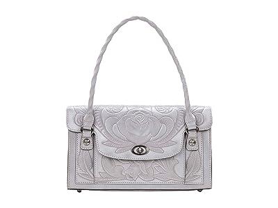 Patricia Nash Waxed Tooled Sanabria Satchel (Light Grey) Satchel Handbags