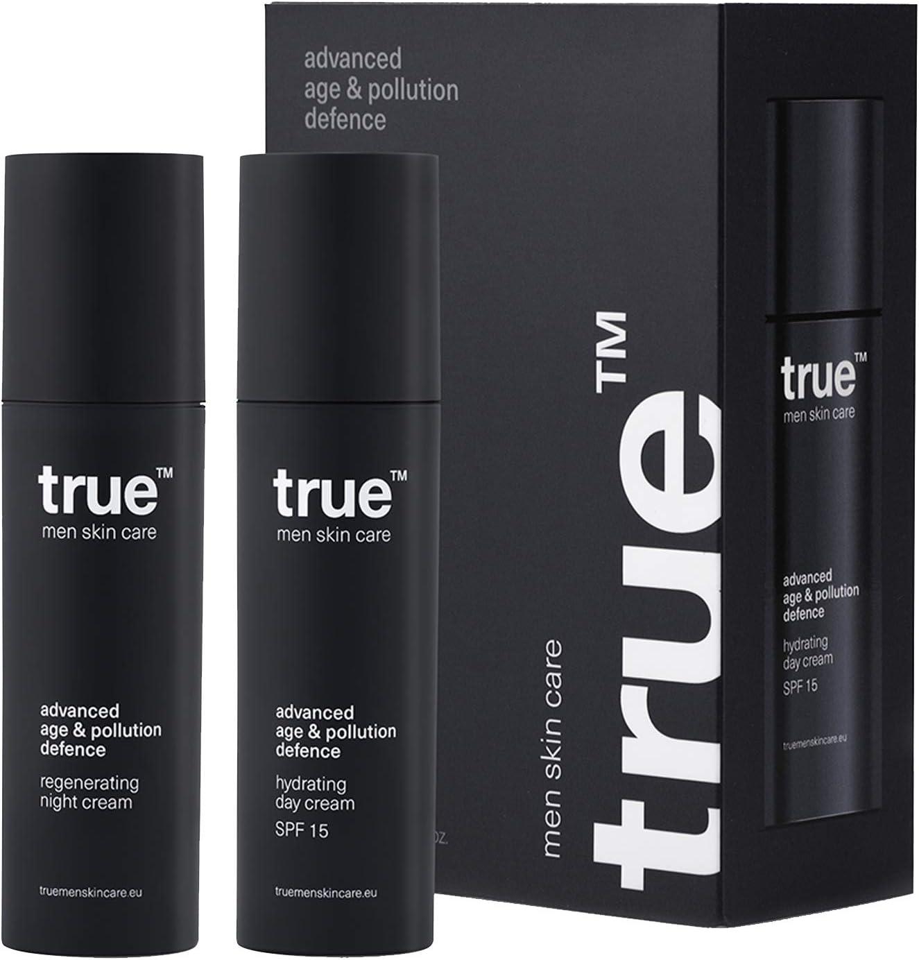Crema Facial True Day&Night para Hombres Crema Hidratante (50 ml) + Crema de Noche Regeneradora (50 ml) Defensa contra Edad y Contaminación | 100% Vegano y Hecho en Europa