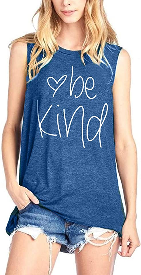 Be Kind Tank Tops for Women Funny Letters Printed Vest Top Inspirational Casual Sleeveless Tees Shirt
