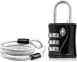 Aspen TSA Candado Combinacion Seguridad Maleta Equipaje Taquilla Candados Viaje Taquilla Lock eeuu con Cable de Bloqueo (1 Pack,Negro)