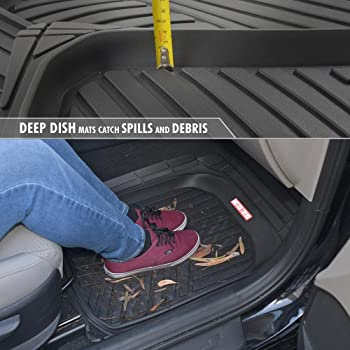 Motor Trend Black Deep Dish Rubber Floor Mats All-Climate All Weather Performance Plus Heavy Duty Liners Odorless (Bl...