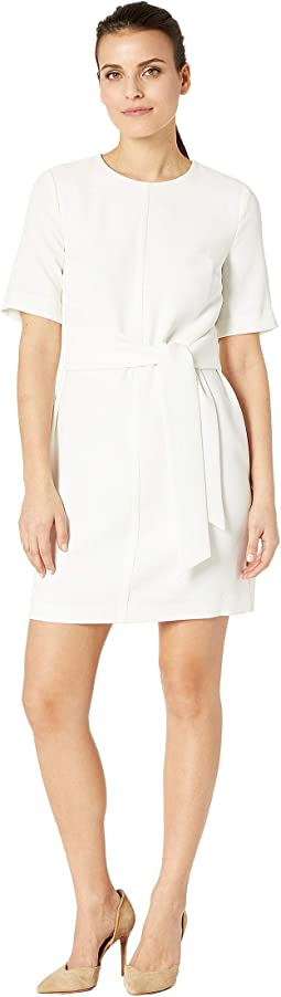 Petite Short Sleeve Parisian Crepe Belted Dress