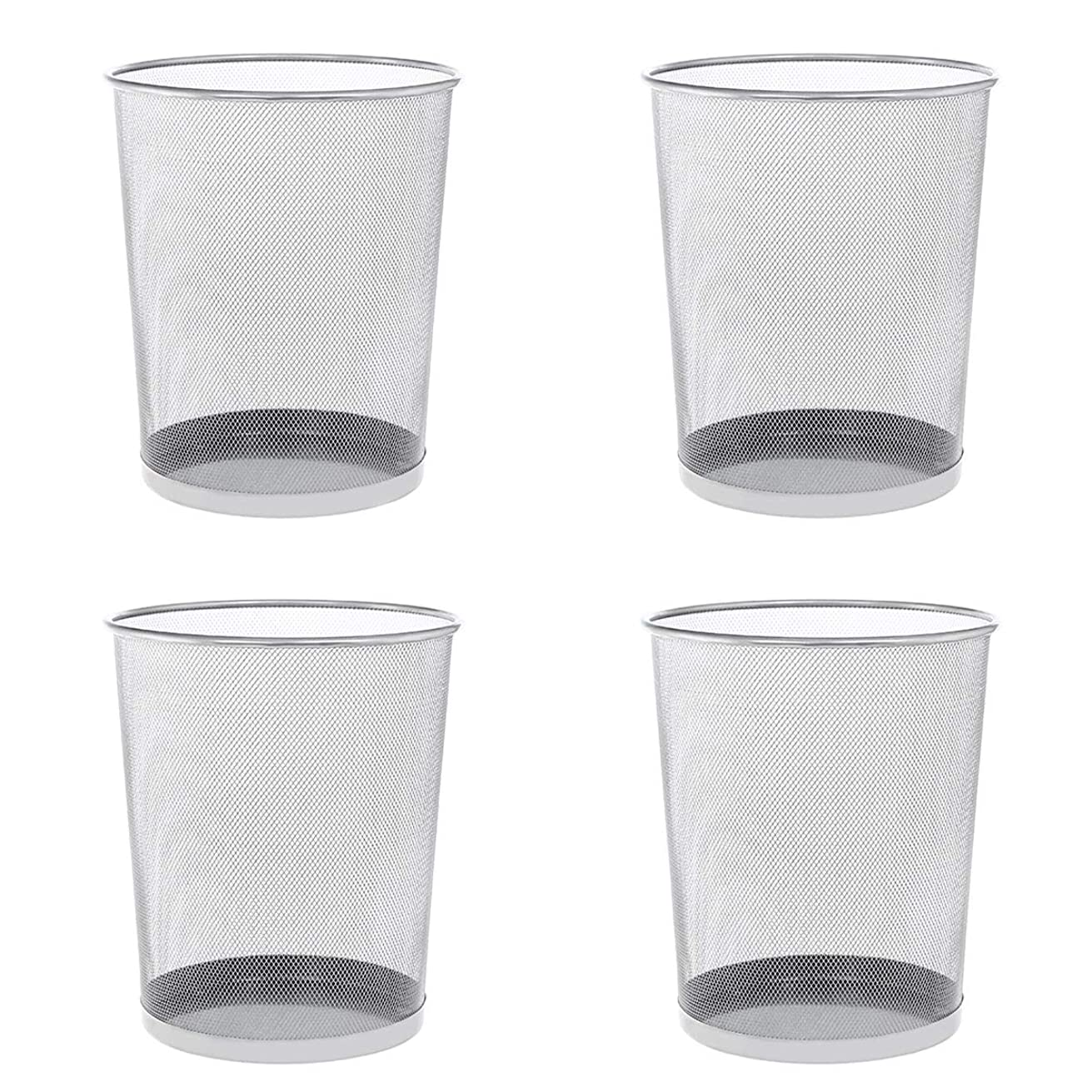 DeELF 4 Pack Mesh Wastebasket Trash Can 4.5 Gallon Round Shape for Creating Home Office Fashion and Uniqueness, Sliver