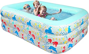 KIKILIVE Aufblasbare Pools,Großer Family Pool Deluxe, Pool rechteckig für Kinder, leicht aufbaubar, Planschbecken für Sommerwasserparty Garten Innen und Außenbereich Mehrere Größenoptionen