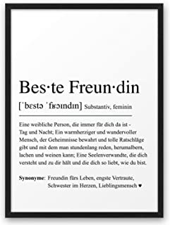 BESTE FREUNDIN Definition ABOUKI Kunstdruck Poster Bild Geschenk-Idee für Frauen Freundinnen Geburtstag Weihnachten Mädels...