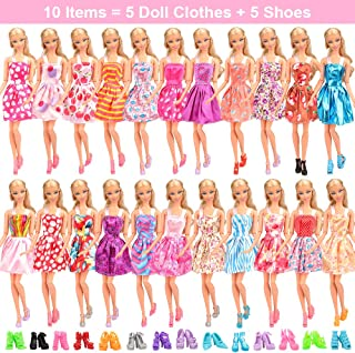 Barwa 5 Clothes Dresses + 5 PCS Shoes Selected Randomly for 11.5 Inch 28 -30 cm Dolls