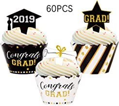 Graduation Cupcake Toppers Wrappers 2019 - Grad Party Supplies Congrats Cake Decorations