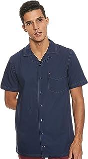 قميص Tommy Hilfiger رجالي بخياطة متباينة وأكمام قصيرة، أزرق (أيريس 442)