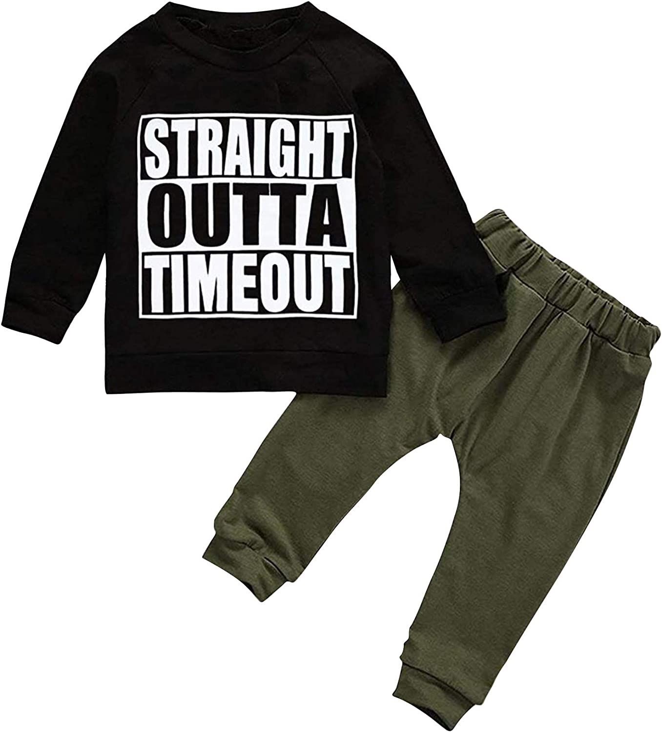 TUEMOS Toddler Boy Clothes Straight Outta Time Out Letter Sweatshirt Top + Camouflage Pants Outfit Set
