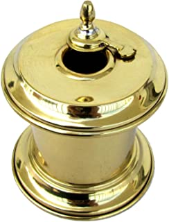 TG,LLC Solid Brass Captain's Writing Pen Inkwell with Moving Swivel Lid