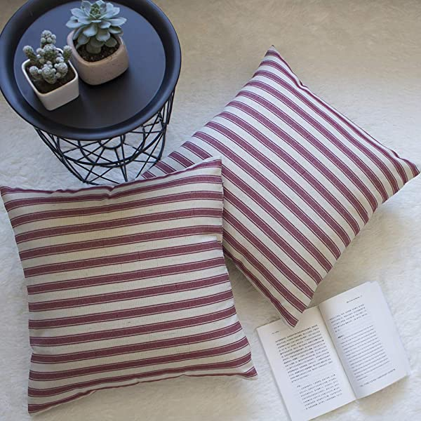 Fancy Homi 2 Packs Farmhouse Stripe Decorative Pillow Covers Cotton Linen Checked Square Pillow Case Cushion Cover For Couch Sofa And Bedroom 2 Pieces Red Stripe 18 X 18 Inch