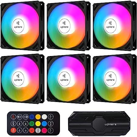 upHere Ventilateur PC 120mm télécommande RGB LED pour Boîtier PC D'ordinateur Ultra Silencieux,Contrôle de Vitesse, Carte Mère Aura Sync,6 Pack(NK1206-6)