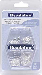 Beadalon Findings, Variety 6-Pack, Silver Plate, 132-Piece