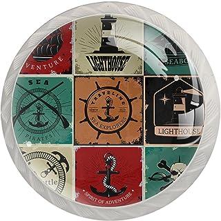 Boutons De Tiroir Verre Cristal Rond Poignées d'armoires tirer 4 pièces,ancre de barre de bateau de phare