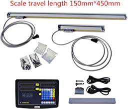 ECO-WORTHY 2 Axis JCS DRO And 150&450mm Digital Readout DRO Kit for Milling Lathe Machine Glass Precision Linear Scale 6''&18''