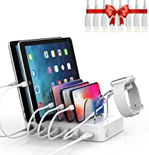 Soopii Quick Charge 3.0 60W/12A 6-Port Charging Station for Multiple Devices, 8pcs USB Charging Cables and 1pc Plastic Hol...