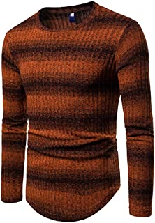 Realdo Men's Gradient Stripe Sweater, Mens Casual Daily Winter Pullover Knitted Top Outwear Blouse