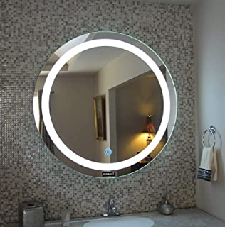 KHUSHI AR10 Glass Round Frosting LED Mirror (White)