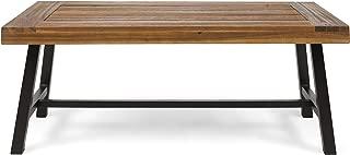 Christopher Knight Home 304571 Carlisle Outdoor Acacia Wood Coffee Table, Sandblast Finish/Rustic Metal