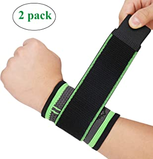 Wrist Wraps,  Adjustable Compression Wrist Brace Carpal Tunnel and Strap, Wrist Bands for Minor Sprains,  Workout,  Weightlifting,  Sleeping,  Tendonitis Hand Support (M Wrist Wraps,  2 Pack)