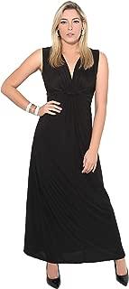 Women Ladies Boho Knot V Neck Sleeveless Pleated Long Maxi Dress Sumer Party