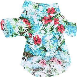 Coversolat Hundekleidung Kleine Hunde Sommer T-Shirt Hawaii-Stil Hemd Welpen Katzen Haustier Kleidung