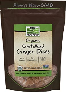 NOW Natural Foods, Organic Crystallized Ginger Dices, Low-Sodium, Preservative-Free and Non-GMO, 16-Ounce (Packaging May V...
