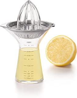 OXO Small Citrus Juicer with Built-in Measuring Cup and Strainer, Steel, Silver, 9.53 x 9.53 x 17.78 cm