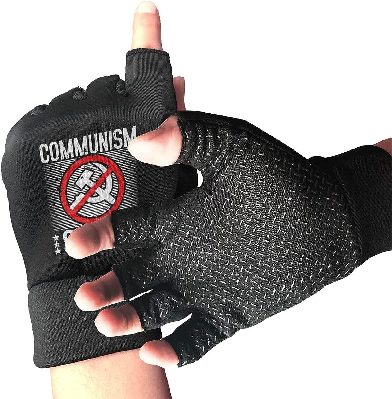 Communism Sucks Non-Slip Working Gloves Breathable Sunblock Fingerless Gloves For Women Men
