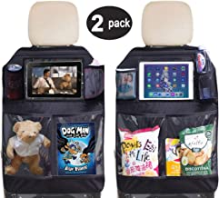 SLEEPING LAMB Car Seat Protector Auto Back Seat Kick Mats Organizer with Waterproof Clear Tablet Holder and Mesh Pockets for Children Kids Baby Journey (2 Pack)