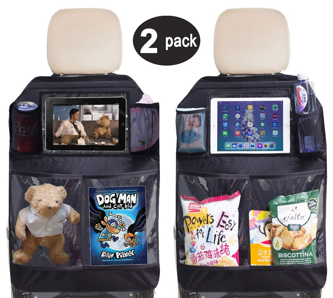 Black Luxury Car Seat Back Kick Mat Protectors 2 Pack.Tike Smart Premium Covers