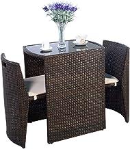 Giantex 3 PCS Cushioned Outdoor Wicker Patio Set Convention Bistro Set Garden Lawn Sofa Furniture (Brown)