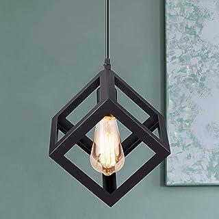 Makitesy Moderne Suspensions Noir Luminaire Retro Metal Plafonnier Lustre Luminaire éclairage Forme de Géométrie E27 Ediso...