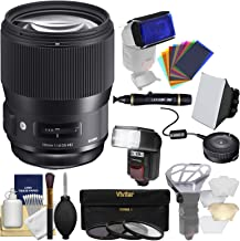Sigma 135mm f/1.8 Art DG HSM Lens with USB Dock + 3 UV/CPL/ND8 Filters + Flash + Soft Box + Diffuser + Kit for Canon EOS Digital SLR Cameras