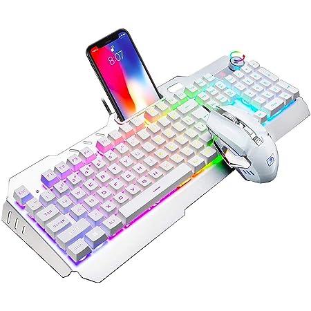 LexonElec Juego de ratón de Teclado de Juego M398 con Cable 104 Teclas Arco Iris LED retroiluminado USB Multimedia Panel de Metal para Juegos Teclado ...