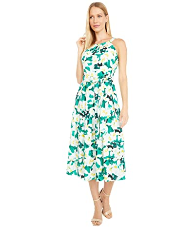 Vince Camuto Printed Crepe De Chine Halter Neck Wide Inset Waistband Midi (Green Multi) Women