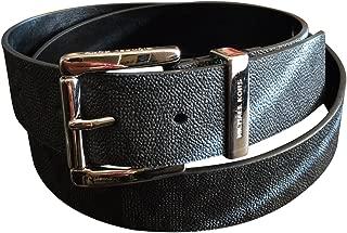 Mk Signature Monogram Logo Black Belt Silver Buckle Size Large