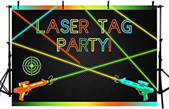 MEHOFOTO Laser Tag Party Backdrops Photography Laser Battle Guns Adults Birthday Party Night Game On Indoor Laser Tag Neon Glow Photo Studio Backgrounds Banner 7x5ft