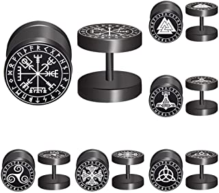 Viking Runes Black Stud Earrings Men Women Faux Gauges Fake Ear Tunnel Stainless Steel Earrings 6 Pairs (Black)