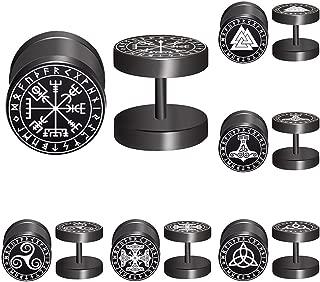 FLYUN Viking Runes Black Stud Earrings Men Women Faux Gauges Fake Ear Tunnel Stainless Steel Earrings 6 Pairs