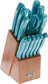 Oster Evansville 14 Piece Cutlery Set, Stainless Steel with Turquoise Handles - 81010.14