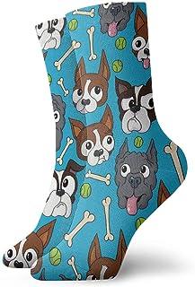 Wheatleya, Adolescentes Calcetines para niños Calcetines medianos Calcetines cómodos Boston Terriers Hueso de perro Calcetines diarios para viajes deportivos