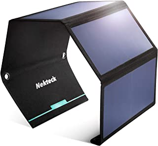 Nekteck 28W Portable Solar Panel Charger, Waterproof Camping Gear Solar Powered Charger with 2 USB Port for iPhone X/8 Plu...