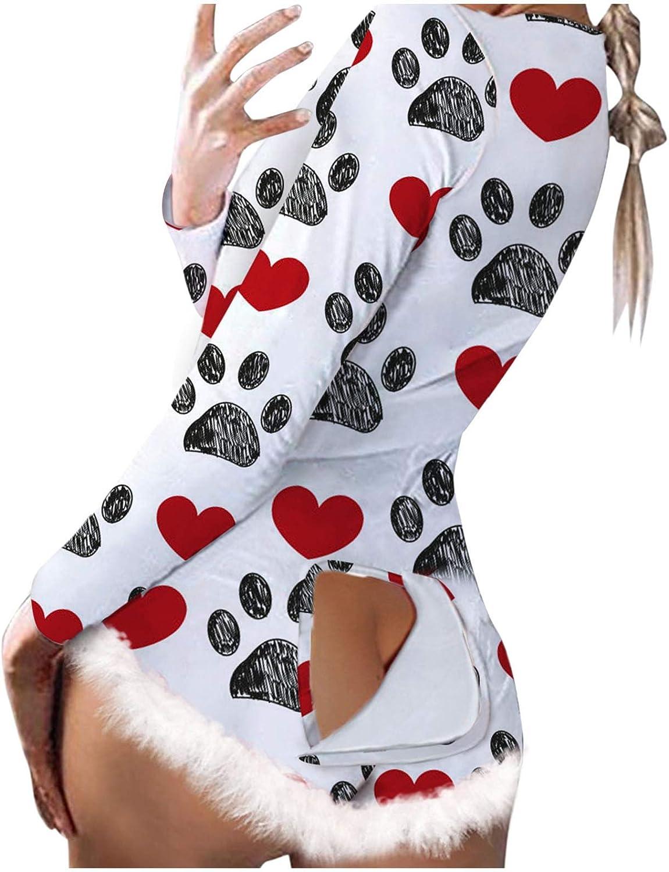 Women Teen Girls Pajamas Homewear,Bodycon Rompers Sleepwear Plush Ladies Long Sleeve Back Front Flap Jumpsuit Bodysuits