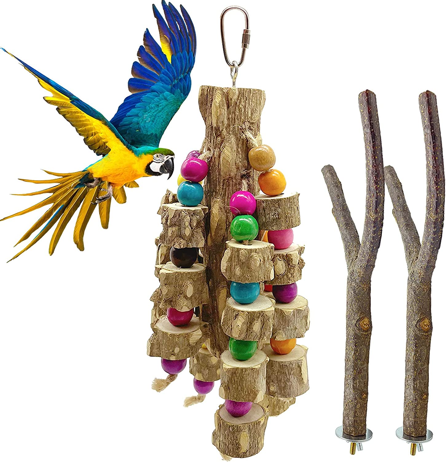 Hamiledyi Wood Parrot Some reservation Super special price Chewing Toy Bird Wooden Natural Multicolor