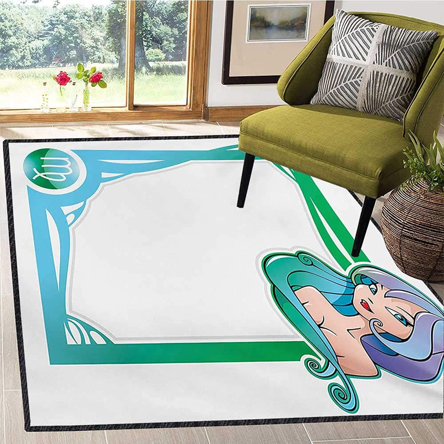 Zodiac Virgo, Door Mats for Inside, The Sixth Sign from The Series of Zodiac Frames in Cartoon Style with a Girl, Door Mat Outside 4x6 Ft Multicolor