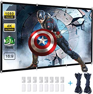 Projector Screen, Powerextra 120 inch 16:9 HD Foldable Anti-Crease Portable Washable Projection Screen for Home Theater Outdoor Support Double Sided Projection