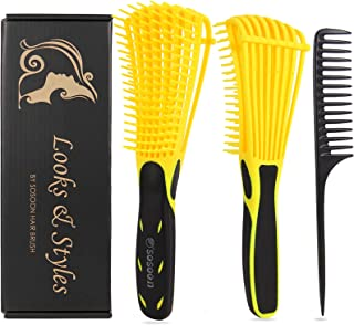 Detangle Hair Brush, Detangler Brush for Women Girls Wet Dry Afro 3a to 4c Thick Frizzly Wavy Kinky Curly Coily Natural Hair, Detangling Hairbrush with Metal Pick Comb (Yellow with Black)